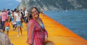 I attach a photo taken by Roberto, my husband, in July 2016 on the lake Iseo. And when I say ON, I mean it! I was walking on Christo's and Jeanne-Claude's Floating Piers, and I was happy and amazed at the beauty of the idea and of the installation.